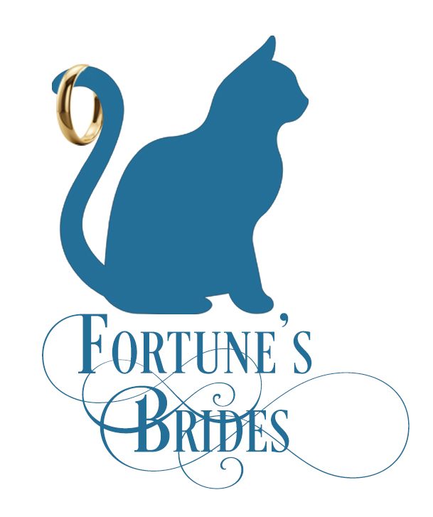 This silhouette of a cat with a wedding ring on its tail is the icon for the Fortune's Brides series by historical romance author Regina Scott