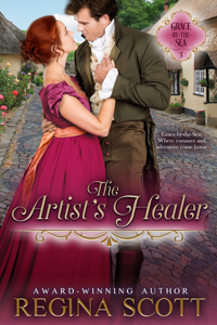 cover for The Artist's Healer, by historical romance author Regina Scott, showing a couple embracing on a quiet village street